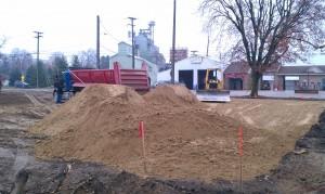 Grading-trucking-compaction-site development