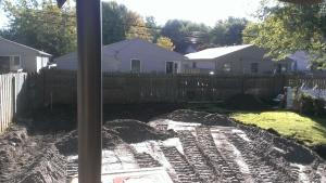 Excavating building project, concrete